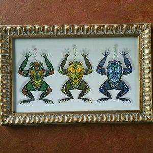 Frog Masks original art print